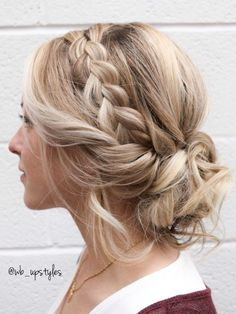Dutch Braid with a Whimsy low bun. Wedding hair inspired. Beautiful wedding hairstyle. Hair by @wb_upstyles