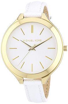 Michael Kors MK2273 - Reloj de cuarzo para mujer, con correa de cuero, color blanco #RelojMichaelKors #MichaelKors
