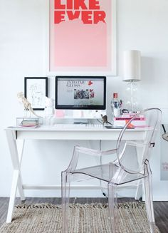 @Pati Canon   modern white pink home office space desk ghost plaxi glass chair