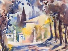 Landscape watercolor paintings in Tuscany, with reference photos |Gerhard Hillmayr | YouTube