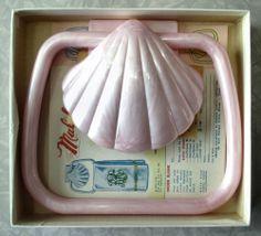 Donaco Malibu Sea Shell Towel Holder Vintage 1950s Caribbean Rose Pink In Box