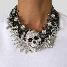 super statement tempest crystal city skull statement necklace