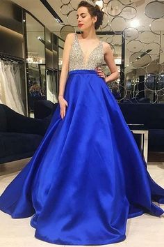 Princess Prom Dresses, A-Line V-Neck Low Cut Royal Blue Satin Prom Dress with Beading, Plus Size Formal Dresses and Plus Size Party Dresses are great for your next special Occassion at cheap affordable prices The Dress Outlet. Beaded Evening Gowns, Sexy Evening Dress, Cheap Evening Dresses, Cheap Dresses, Royal Blue Prom Dresses, Satin Dresses, Dance Dresses, Dress Prom, Dresses Uk
