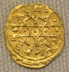 Abbasid Gold Coin with Solomon's Seal. shows the arabic-muslim adherence to law forebading iconic images. Al-Mustansir Caliph, Baghdad 1226 Access to Sudanese gold led to economic growth. and many Muslim dynasties replaced silver coins with gold. Arte Judaica, Seal Of Solomon, Gold And Silver Coins, Antique Coins, World Coins, Ancient Artifacts, Indian Artifacts, Star Of David, Rare Coins