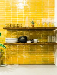 zellige are the sequins of the tile world imparting their glimmering, hand-cut goodness to surfaces in need of moroccan magic. zellige has the unique power to transform any space it's in. that's because it just may be the prima materia of the tile world Mustard Kitchen, Orange Kitchen, Kitchen Colors, Yellow Kitchen Cabinets, Yellow Kitchen Designs, Yellow Kitchens, Yellow Tile, Mellow Yellow, Bright Yellow