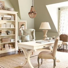 We are going for sage, cream, off white and accents of yellow in our new room. I really like the sage on the walls in this and the cream color of the furniture