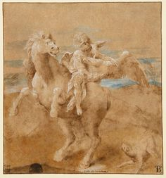 LELIO ORSI (1511 - 1587) The Rape of Ganymede Pen and brown ink and brown wash, heightened with white, with touches of gouache on buff paper, with framing lines in brown ink, on light brown paper.  Inscribed Lelio da Novellara at the bottom centre.  249 x 233 mm. .jpg (1411×1515)
