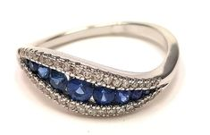 Unique Curved Engagement Ring 14K White Gold With Blue Sapphire And Diamonds , Gem Ring, Promise Ring, Sapphire Ring, anniversary ring