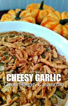 This year, put a spin on your favorite classic - Green Bean Casserole! This Cheesy Garlic Green Bean Casserole recipe packs a delicious punch of garlic!