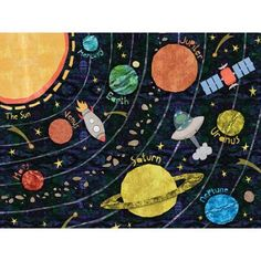 Oopsy Daisy Super Solar System by Alice Feagan Framed Art Format: White Frame, Size: H x W Solar System Art, Thing 1, Chalk Art, Art For Kids, Kid Art, Decoration, Art Projects, School Projects, Project Ideas