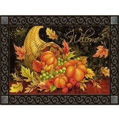 "Bountiful Blessings Doormat by MatMates by Matmates. $25.99. Made with non-slip rubber. Weatherproof for outdoor or indoor use.. Use MatMates Doormats alone or with the decorative tray (as shown).. NOTE: Tray sold separately. TRAY SIZE: 24"" x 36"".. MatMates Doormat SIZE: 18"" x 30"".. Vibrant colors, fade-resistant doormats.. BOUNTIFUL BLESSINGS Mat by MatMatesTMThis MatMatesTM interchangeable doormat is made with a non-slip backing of environmentally-friendly recycled rubber..."