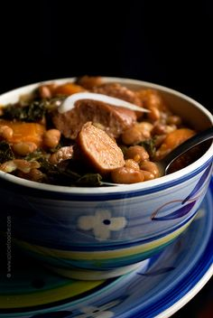 Pintos, Smoky Sausage and Chard Stew Spiced with A Habanero Pepper by @SpicieFoodie | #stew #beans #sausage #habaneropepper #spicy