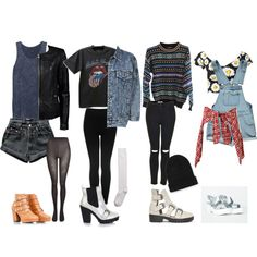 Back To School Grunge Outfits by samsus on Polyvore featuring rag & bone, Motel, Boohoo, ONLY, Topshop, Levi's, R13, SELECTED, Hue and Missguided
