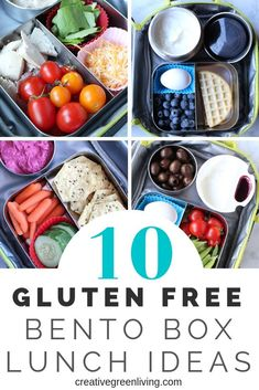 10 Gluten Free Bento Box Lunch Ideas for School, Work or On the Go - - 10 easy gluten free lunch ideas. These are all quick and healthy meals that are perfect for kids or for adults. Bring these simple bento box meals to school, work or on the go. Keto Lunch Ideas, Lunch Recipes, Whole Food Recipes, Lunch Meals, Gluten Free Lunch Ideas, Easy Gluten Free Lunches For Work, Kid Lunches, Bento Box Lunch For Adults, Lunch To Go