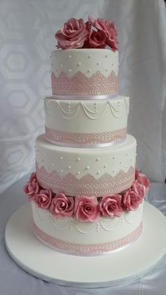 Rose wedding cake by Jeanette's Cake Creations and Courses - http://cakesdecor.com/cakes/228445-rose-wedding-cake