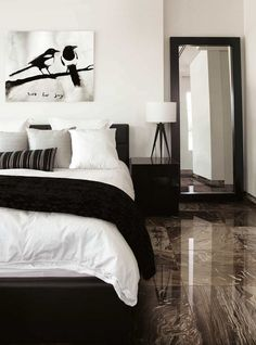Decoration 25 Black and White Bedrooms Interior Design Trends for 2019 Using Lawnmowers To Build And Tile Bedroom, Room Ideas Bedroom, Dream Bedroom, Home Decor Bedroom, Modern Bedroom, Monochrome Bedroom, White Bedroom Decor, Swedish Bedroom, Grey Bedroom Furniture