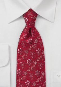 #Business_krawatte #Blümchenmuster mittelrot