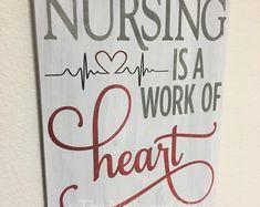 Nursing Sign Gift for Nurse Handmade Gift Office Decor Gift for Her Gift fo Nurse Office Decor, School Nurse Office, Gifts For Office, Nurse Crafts, Diy Gifts, Handmade Gifts, Nurses Station, Nurses Day, Gifts For Nurses
