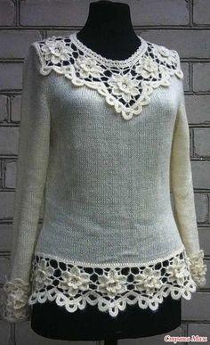 31 ideas crochet sweater lace inspiration for 2019 Pull Crochet, Crochet Yoke, Crochet Motifs, Crochet Collar, Crochet Jacket, Irish Crochet, Crochet Patterns, Crochet Top Outfit, Crochet Blouse