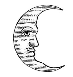 Antique Clip Art - Man in the Moon - Crescent and Full - The Graphics Fairy