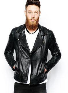 $224, Black Leather Biker Jacket: Asos Brand Leather Biker Jacket In Black. Sold by Asos. Click for more info: https://lookastic.com/men/shop_items/291008/redirect