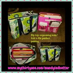 The Zip Top Organizing Utility Tote is now bigger and better! Add a fold n file for more organization!