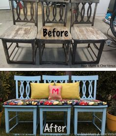 three-chair-bench | How To Turn Old Chairs Into New Beautiful Benches