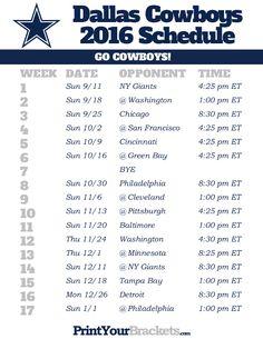 Printable Dallas Cowboys Schedule - 2016