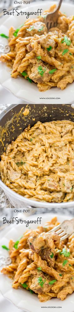 One-pot Beef Stroganoff ~ mushrooms and beef in a creamy rich sauce over fusilli pasta, full of flavor and yumminess.