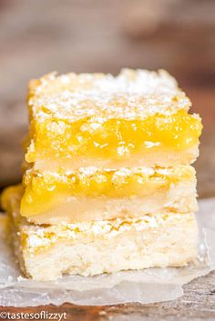 Bright, tangy lemon bars recipe with a shortbread crust and lemon custard filling. A simple powdered sugar dusting makes these fruit bars a classic! Source by desserts desserts easy desserts healthy desserts recipes Best Lemon Dessert Recipe, Lemon Pie Recipe, Lemon Desserts, Lemon Recipes, Best Dessert Recipes, Easy Desserts, Cookie Recipes, Delicious Desserts, Bar Recipes