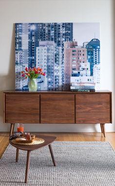 NEW! SENO walnut sideboard  Artwork: Cityscape - Urban Landscape IV ©️️ Bence Bakonyi