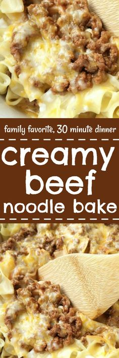 Creamy Beef Noodle Bake – Tender egg noodles, melty cheese, and a creamy tomato ground beef mixture make for one amazing, and family-friendly dinner! The entire family will love this simple and easy creamy beef noodle bake. It's a family favorite that can Beef Casserole, Casserole Dishes, Casserole Recipes, Ground Beef Noodle Casserole, Beef And Noodles, Egg Noodles, Lasagna Noodles, Garlic Noodles, Beef Dishes