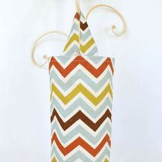 Fabric Cloth Plastic Grocery Bag Holder Chevron by ablemabel