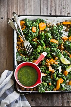 Spicy Roasted Chickpeas, Kale & Mango Salad With a Lemon Mint Dressing. Vegan