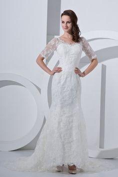 Satin V-Neck Court Train Sheath Wedding Dress with Lace and Short Sleeves - Alice Bridal