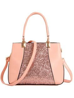 Sequins Splicing PU Leather Tote Bag - PINK