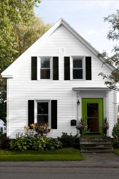 Black trim white houses and window on pinterest - White house green trim ...