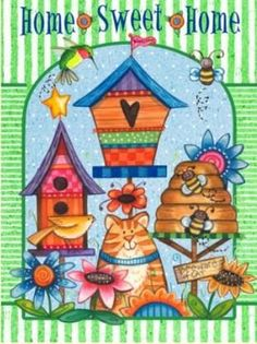Boasting a durable construction, vibrant colors and cheerful graphics, this outdoor flag is built to welcome guests year after year. Spring Projects, Art Projects, Mod Podge Crafts, Bird Houses Painted, Art Decor, Decoration, Pintura Country, Cute Clipart, Country Paintings