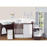 Sweet Jojo Designs Gray and White Chevron Collection 11-Piece Bedding Set