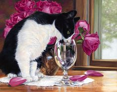 LUCIE BILODEAU ~ cat drinking out of glass
