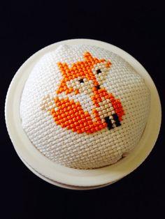 Cross stitched pincushion jar lids - fox or elephant. #pin_cushion_jar  #cross_stitch
