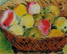 Hans Berger - Pommes - Huile sur toile, 46 x cm. Artist, Nature, Painting, Oil On Canvas, Naturaleza, Painting Art, Paintings, Nature Illustration, Painted Canvas