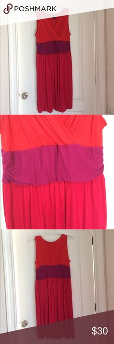 Colorblock Dress V-neck colorblock dress. Red type, magenta waistband and hot pink skirt. Perfect day to night dress. Size 18/20. Lane Bryant Dresses Midi