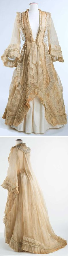 Evening dress, American, ca. 1872, cotton. Metropolitan Museum of Art: Originally worn in 1862 as a bridesmaid's gown. In the early 1870s, the owner altered the dress into its current polonaise style when, on very short notice, she needed a party dress. The delicacy of the organdy and mull and the beautiful execution of the alteration exemplify her resourcefulness and talent with dressmaking.