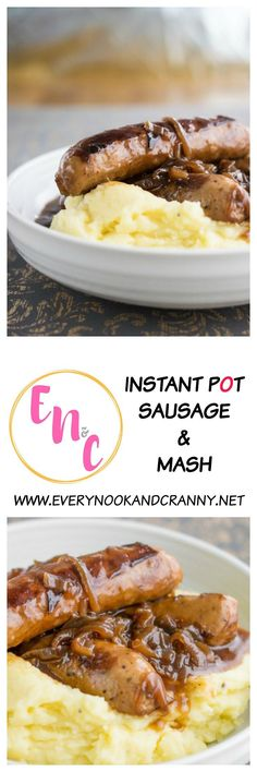 Sticky sausages in onion gravy with cheesy mustard mash - all made in the Instant Pot!