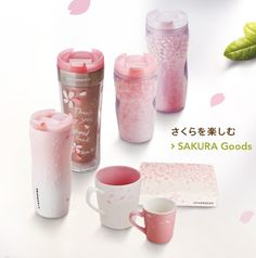 "In an annual event similar to the Pumpkin Spice Latte here in the U., Sakura (meaning ""cherry blossom"") season is upon Starbucks Japan. Coffee Quotes, Coffee Mugs, Japan Sakura, Dining Ware, Pink Cups, Starbucks Tumbler, Coffee Design, Pumpkin Spice Latte, Bottle Design"