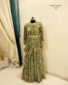 Floral Gown by Kunal Vagela Indian Gowns Dresses, Unique Dresses, Stylish Dresses, Beautiful Dresses, Fashion Dresses, Designer Bridal Lehenga, Dresses For Pregnant Women, Long Gown Dress, Kurta Designs Women