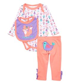 Another great find on #zulily! Coral & Purple Fox Bodysuit & Pants Set by Duck Duck Goose #zulilyfinds