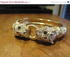 Ciner Rhinestone Panther Bangle Bracelet 1960s by OurBoudoir, $313.20