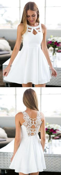 A-Line Jewel Short White Satin Homecoming Dress With Lace